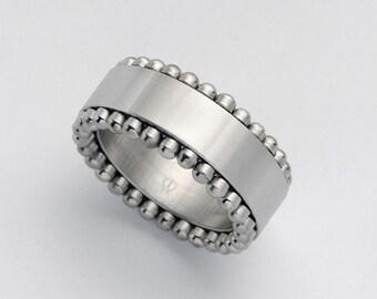 Cool Men's Spinner Ring, Tank Stainless Steel Ring, Wide Spinner Band, Moving Gear Ring for Men, Gear Fidget Mens Ring Size 7.5 10.5 11.5