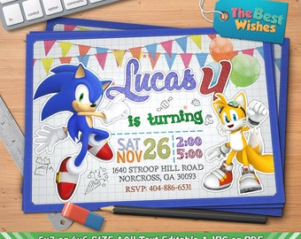 Sonic Mario Invitation Sonic Birthday Party Hedgehog Game