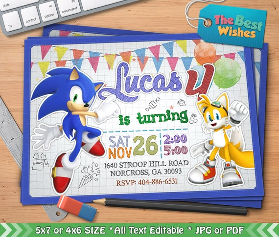 Sonic Invitation Sonic Birthday Party Hedgehog Game