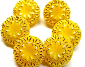 "6 Czech Glass Buttons, Yellow glass with gold, 1/2"", 13mm."