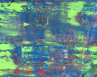 Original Abstract Painting Free Shipping Canada Abstract Painting Blue Green, Wall Art 18 X 24 inches Canvas Painting Wall Art