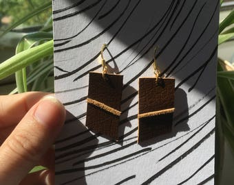 Brown banded leather and suede earrings