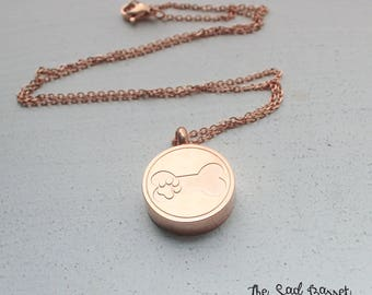 Paw Print Cremation Urn Necklace | Personalized Cremation Jewelry | Rose Gold Cremation Urn Jewelry | Dog Bone Urn | Pet Memorial Necklace