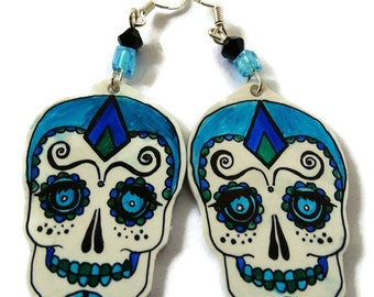 Sugar Skull Drop Earrings,Sterling Silver Fish Hooks,Sterling Silver Earwire,Hand Crafted,Day Of The Dead Earrings, Good For A Gift Or You!2