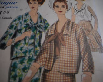 Vintage 1960's Vogue 4122 Special Design Suit and Blouse Sewing Pattern Size 14 Bust 34