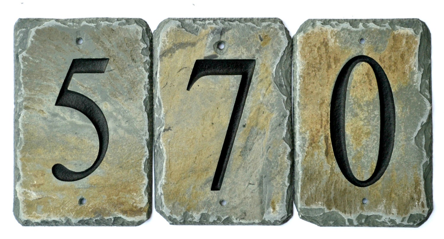 Stone House Number Tiles Reclaimed Slate Mailbox Post