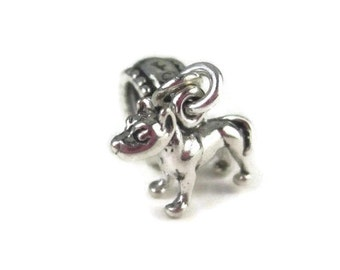 Pit Bull Charm for European Bracelets, Sterling Silver Dog Bead, Pet Memorial Jewelry