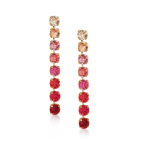Long Ombre Crystal Chain Earrings in Red