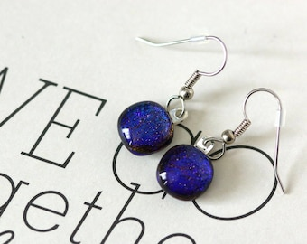 Petite Blue Dichroic Fused Glass Earring, Drop Earrings, Dangle Earrings, E0171, GetGlassy