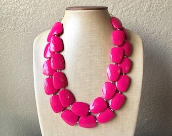 Pink Statement jewelry set, Chunky Beaded Necklace, pink Jewelry, Fall Jewelry, Fall Necklace, Hot pink Necklace, magenta beaded necklace