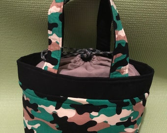 Camouflage Print Drawstring Lunch Bag
