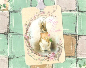 Easter, Rabbit Tags, Vintage Style Bunny Tags, Happy Easter, Bunny Tags