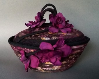 Coiled Basket with Lid, Night Flowers Dreamkeeper Basket