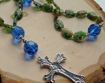 Anglican Prayer Beads - Sparkly Blue and Milifiore