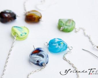 925 Silver Earring, Murano Glass Pearl, Glass Murano Earrings, Glass Earrings, Simple Earrings, Dangle  Earrings, Long Murano Jewelry