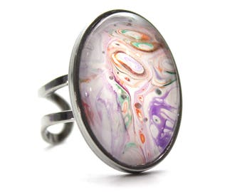 Upcycled Made with Paint Oval Ring in White, Purple, and Orange