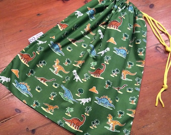 Library, Toy Bag, Sport, Large 35 x 45cm, Dinosaur Animal Green, Drawstring, Quality Hand Made
