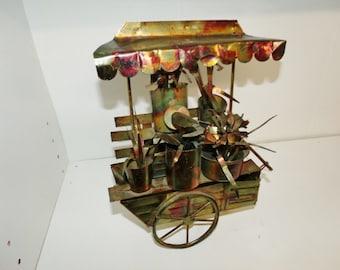 Vintage Copper Metal Flower Cart