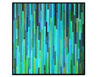 """Modern Wood Wall Art - """"Water Lily"""" - Wood Wall Sculpture in Blues and Greens - Reclaimed Wood Art - Abstract Wood Art"""