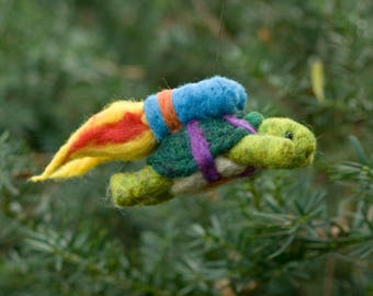 Needle Felted Super Tortoise - Flying with Jet Pack