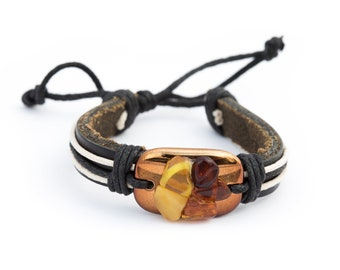 Baltic Amber and leather bracelet