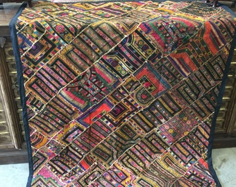 Antique Vintage RUG Patchwork Tapestry Mirror Work Embroidered Hand Crafted Bohemian Wall  Decor FREE SHIP