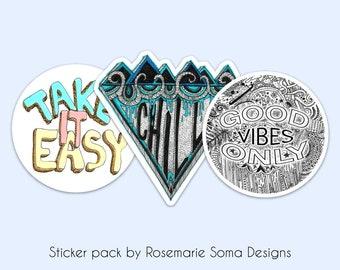 Good Vibes Laptop Sticker Pack Set - 3 Waterproof Stickers, laptop sticker set, laptop sticker pack, sticker pack