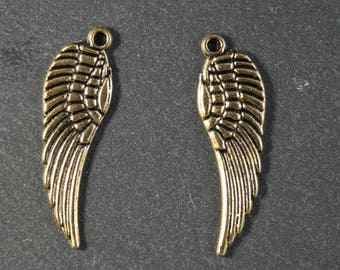 2 color Angel Wings feather charms Gold 30 mm