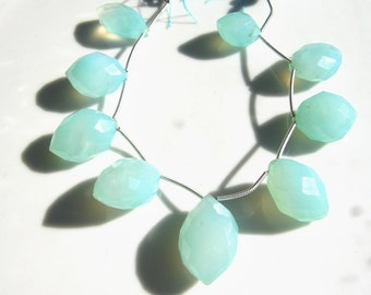 SALE  Pale Blue Chalcedony Chunky Marquis Faceted Briolette Bead