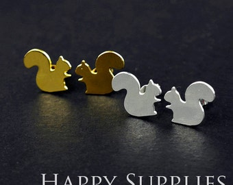 Nickel Free - High Quality Squirrel Dual-used Golden / Silver / Rose Gold Brass Earring Post Finding with Ear Studs Back Stopper (ZEN026)