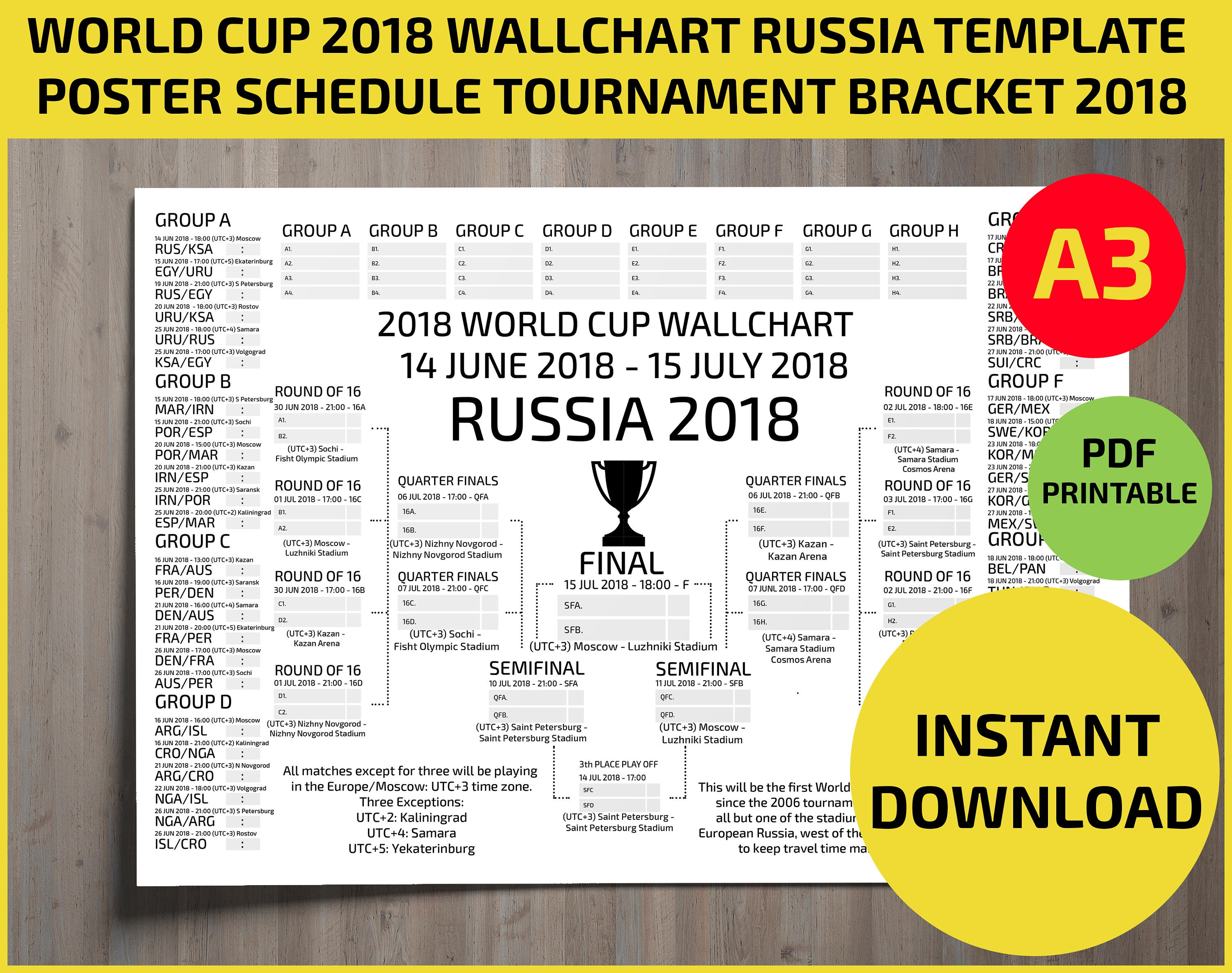 graphic regarding Fifa World Cup Bracket Printable known as 2018 Fifa Environment Cup Russia Bracket Chart Poster: FIFA World wide