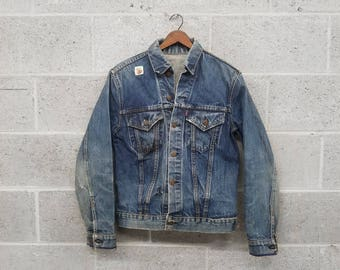 Distressed 1960s Levi's Denim Jacket / Big E Trucker / Patched / Size XS/S