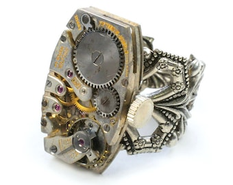 steampunk Antique Watch Movement Adjustable Ring