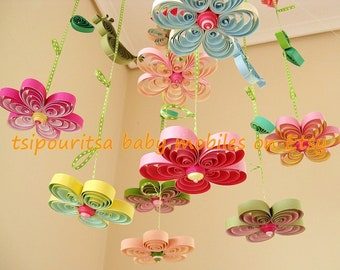 Baby Mobile - Crib Mobile - Baby Nursery Mobile - Flower Mobile - Quilling Mobile - Baby Girl Mobiles - Birds in Rainbow Garden 8A ,