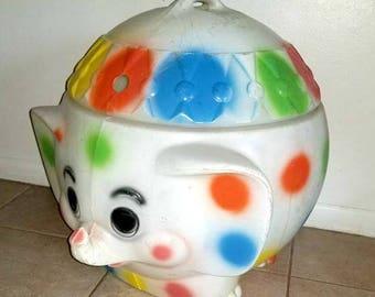 Vintage Elephant Toy Box,Polka Dot Elephant Toy Box, Blow Mold Toy Box,Vintage Circus Decor,Childrens Decor,Kitsch,Elephant,Circus,1970s