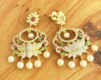 Gold Plated Earrings - CZ Stone Earrings - Dangle Earrings - Tribal Earrings - Ethnic Earrings - Indian Earrings - Statement Earrings