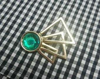 Gold and Green Abstract Design Brooch