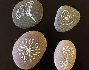 Hand Painted Pebbles - Set of 4 - Leaves, seeds and feathers series.
