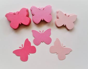 100 Butterfly cut outs in shades of pink, paper butterflies, butterfly die cuts, wedding confetti, butterfly party confetti