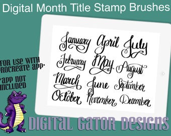 Digital Months Title Stamp Brushes