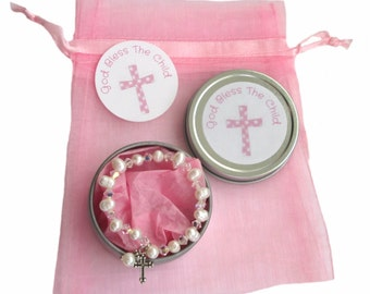 Children's 1st Communion or Baptism Freshwater Pearl Stretch Bracelet  & Gift Tin Keepsake Package ~ 3 Sizes Available ~ Cream or Pink