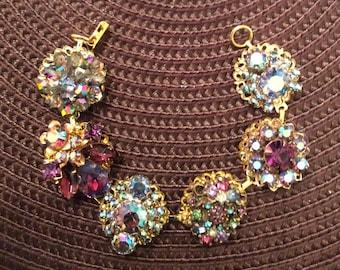 Elegant, Vintage Upcycled All Rhinestone Bracelet - One of a Kind!