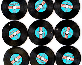 5 Large Vintage Disco Record Charms