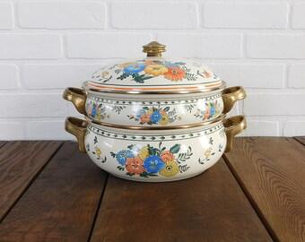 Vintage Kamenstein Flower Enamel Cookware, Farmhouse Kitchen, Enamel Stew Pot