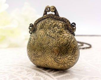 Floral Locket Necklace, Flower Purse Locket Necklace, Vintage Bronze Cute Little Purse Locket Necklace, Gift For Her