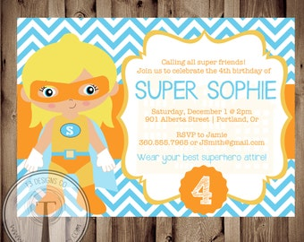 SUPERHERO GIRL Birthday Invitation, Birthday Invite Super Girl, superhero party, super girl party, hero. super hero girl
