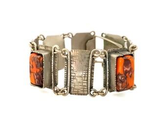 Vintage 1960's Mod Link Bracelet with Orange Lucite Stones, Silver tone Modernist Bracelet