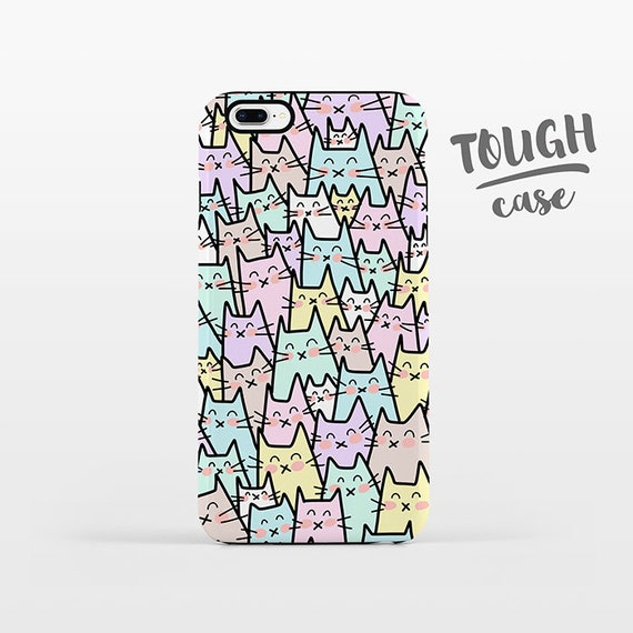 Cat iPhone Case Cat iPhone X Case iPhone 8 Plus Case iPhone 7 Plus Case iPhone 6 Case iPhone 6S Case 5s 5c 5 4 Pastel Phone Case TOUGH
