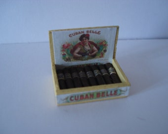 Dollshouse miniature cigars, Miniature box of cigars, 1:12 one inch scale cigars,  Dollshouse miniature tobacco
