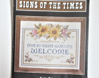 Counted Cross Stitch Kit Vintage Signs of the Times Guests Welcome Picture Kit Unopened Destash Cross Stitch Kit JCA Inc. Craft Supply